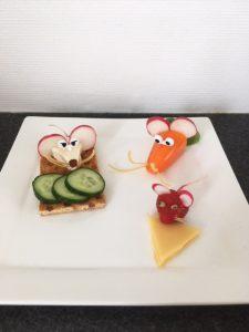 Kinderboekenweek lunch eng griezelen thema school kind gezond eten muizen van groente