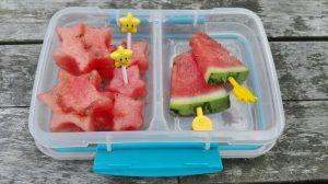 Tips pauzehap tienuurtje watermeloen lunch prikkers school kinderen De Leukste Lunch gezond fruit groente
